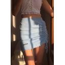 Trendy Fancy Girls' Elastic Waist Drawstring Letter OOD ONE OUT Stringy Selvedge Knit Plain Tight Mini Skirt