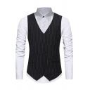 Mens Simple Stripe Pattern V-Neck Sleeveless Single Breasted Slim Basic Suit Waistcoat