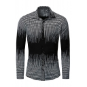 Mens Casual Contrast Plaid Printed Long Sleeve Stretchy Cotton Button Up Shirt