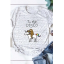 Cute Sloth and Unicorn TO BE DISCO Print Short Sleeves Rolled Short Sleeves Womens T-Shirt