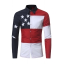 Mens Trendy Colorblocked Stripe Stars Patch Long Sleeve Turndown Collar Button Up Shirt