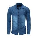 Mens Popular Grid Pattern Long Sleeve Button Up Denim Blue Shirt