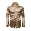 Mens Unique Sequins Patchwork Turndown Collar Long Sleeve Plain Metallic Tuxedo Shirt