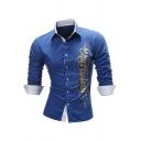 Mens Leisure Gilding Printed Long Sleeve Single Breasted Slim Fit Royal Blue Shirt
