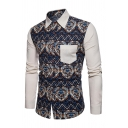 Ethnic Style Fashion Printed Colorblock Patched Chest Pocket Long Sleeves Button Up Retro Shirt