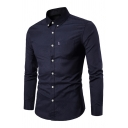 Metrosexual Mens Popular Solid Color Long Sleeve Button Down Slim Business Shirt