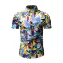 Mens Creative Colorful Geometric Leaf Pattern Short Sleeve Button Up Hawaii Shirt