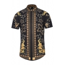 Creative Floral and Star Printed Short Sleeve Single Breasted Black and Gold Vintage Shirt