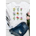 Stylish Floral Collage Letter FLOWER POWER Printed Short Sleeve White Summer T-Shirt