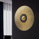 Metal Gold Flush Mount Wall Light Round LED Colonialism Sconce Light Fixture for Bedroom