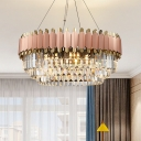 Pink and Gold Layered Drop Pendant Modernism 8/12 Lights Crystal Hanging Ceiling Light
