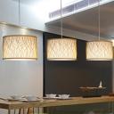 1 Light Drum Suspended Light with Inner White Shade Modern Bamboo Woven Pendant Light in Wood