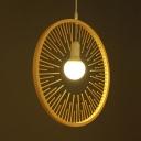 Modern Exposed Bulb Hanging Lamp Height Adjustable Bamboo Restaurant Pendant Light in Wood