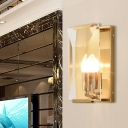 1 Head Wall Sconce Light Minimal Rectangle Clear/Frostwork Crystal Pane Shade Wall Light with Black/Brass Backplate