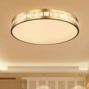 Gold Drum Flush Mount Light Simple Style K9 Crystal LED Ceiling Lamp in 3 Color/Remote Control Stepless Dimming Light, 16