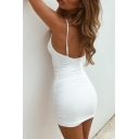 Sexy Party Girls' Sleeveless Open Back Plain Cotton Bodycon Mini Cami Dress