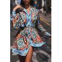 Blue Ethnic Ladies Long Sleeve Lapel Collar Button Down Bow Tie Waist Floral Print Slit Front Mini Shirt Dress