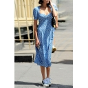 Casual Cute Girls' Short Sleeve Sweetheart Neck Floral Pattern High Split Side Zipper Back Long Flowy Dress in Light Blue