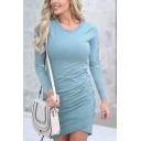 Simply Basic Long Sleeve Round Neck Plain Short Wrap Bodycon T Shirt Dress for Ladies