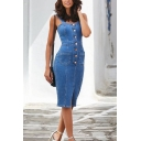Fashion Street Ladies' Sleeveless Button Down Slit Front Plain Midi Bodycon Sheath Denim Cami Dress