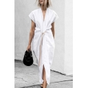 Plain Casual Elegant Ladies' Short Sleeve Deep V-Neck Tied Waist Slit Front Maxi Shift Dress