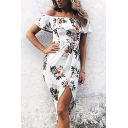 Glamorous Ladies Short Sleeve Off The Shoulder Zip Back Floral Print Ruffled Trim Slit Front Midi Wrap Sheath Dress
