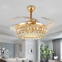 Crown LED Ceiling Fan Vintage Style Clear Crystal LED Gold Finish Semi Flush Light