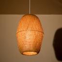 Bamboo Basket Pendant Lamp Weave 1 Light Chinese Style Hanging Light for Restaurant