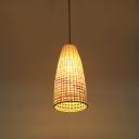 Bamboo Basket Pendant Light Asian Style Single Light Ceiling Hanging Light for Dining Table