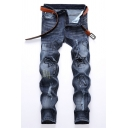 Mens Stylish Star Embroidery Zip Placket Denim Blue Pants Ripped Jeans