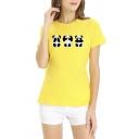 Womens Lovely Panda Printed Short Sleeve Round Neck Slim Fit Summer T-Shirt