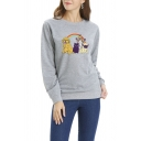 Womens Lovely Cartoon Rainbow Cat Dog Printed Long Sleeve Pullover Sweatshirt