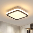 Black Round/Square Ceiling Flush Light Minimalist Metal LED Corridor Flush Light Fixture in White/3 Color Light