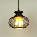 Chinese Style Global Pendant Lamp Bamboo Single Head Indoor Black/Wood Pendant Light for Bedside