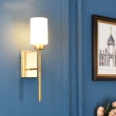 Ivory Glass Cylinder Wall Lamp Modernist Style 1/2-Bulb Living Room Wall Sconce Lighting with Brass Pencil Arm