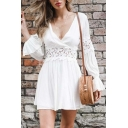 Simply Sexy Ladies' Long Sleeve Surplice Neck Ruffled Trim Lace Patched Hollow Back Pleated Short A-Line Dress in White