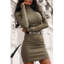 Basic Plain Glove Sleeve Mock Neck Knit Mini Tight Tee Shirt for Ladies