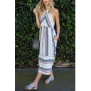 Coast Fancy Girls' Sleeveless Crew Neck Stripe Print Cut Out Back Linen Long Pleated Flowy Dress in White