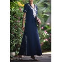 Ethnic Navy Short Sleeve V-Neck Floral Print Slit Side Long Flowy Dress for Ladies