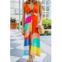 Pretty Girls' Sleeveless Deep V-Neck Bow Tie Contrasted Button Down Split Front Hollow Long Flowy Tank Dress in Orange
