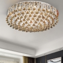 LED Living Room Flush Light Fixture Contemporary Nickel Ceiling Lamp with Round Crystal Strand