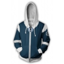 Stylish Anime Character Cosplay Costume Blue and White Zip Up Drawstring Hoodie