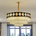 Black-Gold 3 Tiers Hanging Ceiling Light Modern 9/11 Heads Faceted Crystal Chandelier Lamp, 19.5