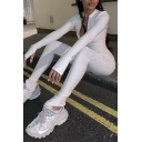 Plain Edgy Looks Glove Sleeve Deep V-Neck Zip Down Stretch Long Tight Jumpsuit for Female