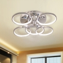 Round Semi Flush Mount Light Simple Crystal LED Silver Ceiling Mounted Fixture in White/Warm Light