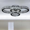 Crystal Ring Flush Mount Contemporary LED Chrome Flush Ceiling Light for Living Room in White/Warm Light