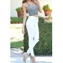 Edgy Looks Mid Rise Destroyed Full Length Plain Skinny Jeans for Women