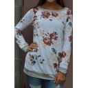 Womens Chic Floral Printed Colorblock Long Sleeve Pullover Sweatshirt Top