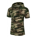 Classic Camouflage Printed Short Sleeve Slim Fit Hooded T-Shirt Summer Drawstring Hoodie
