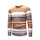 New Fashion Colorblocked Striped Printed Long Sleeve Boucle Knit Fitted Sweater